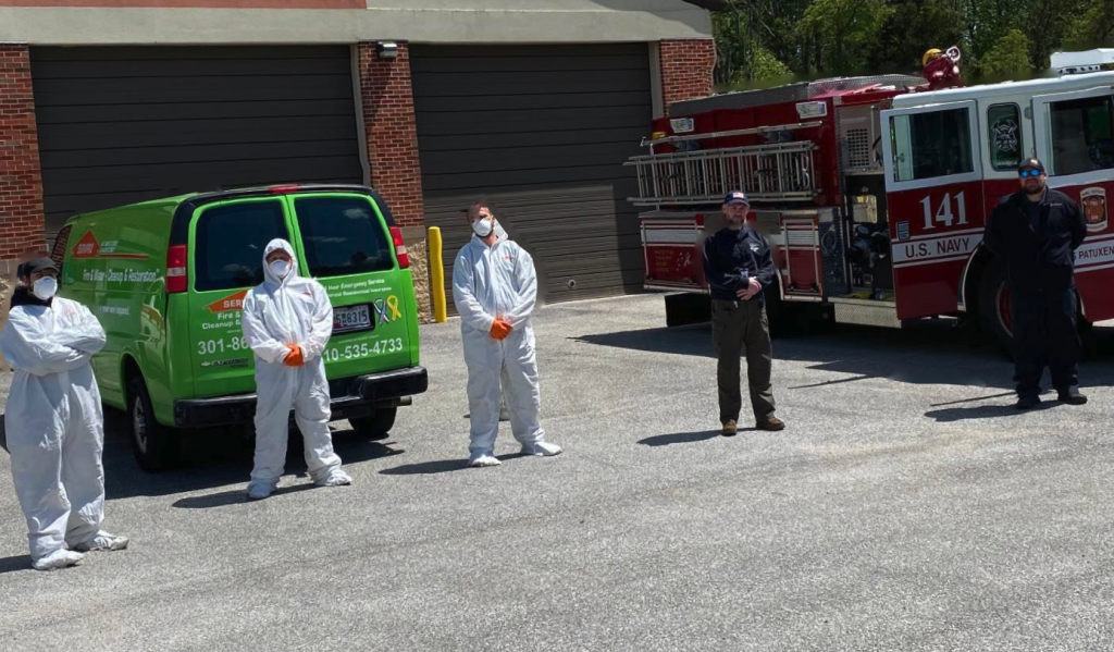 Pictured Below (L-R)- Servpro Employees, Mr. Mike Watts, Mr. Shannon Shreve, Mr. Scott Stauffer, followed by St. Mary's County Department of Emergency Services employees- EMS Chief, David Stamey and Technical Services Coordinator, Mr. Scott Raley.